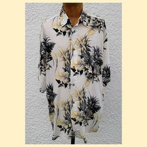 Puritan Hawaiian Pineapple Button Front Shirt
